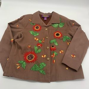 Tapestry Patch Red Flower & Bees Light Jacket
